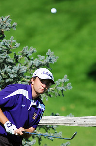 Holy Family High School's Tyler Lucero chips the ball onto the 10th hole green during the 2012 CHSAA 3A State Championship held at Denver's Pinehurst Country Club on Monday, October 1, 2012. (Kira Horvath/Daily Camera)