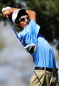 Peak to Peak High School's Behrod Keshtaver tees off at the 11th hole during the 2012 CHSAA 3A State Championship held at Denver's Pinehurst Country Club on Monday, October 1, 2012. (Kira Horvath/Daily Camera)