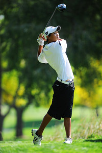 Alexander Dawson's Christian Wagner tees off at the 10th holde during the 2012 CHSAA 3A State Championship held at Denver's Pinehurst Country Club on Monday, October 1, 2012. (Kira Horvath/Daily Camera)
