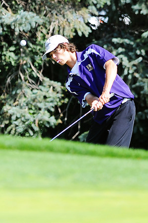 Holy Family High School's Blake Bollman chips the ball onto the 10th hole green during the 2012 CHSAA 3A State Championship held at Denver's Pinehurst Country Club on Monday, October 1, 2012. (Kira Horvath/Daily Camera)