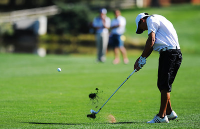 Alexander Dawson's Christian Wagner sends the ball up the 9th hole fairway at the 2012 CHSAA 3A State Championship held at Denver's Pinehurst Country Club on Monday, October 1, 2012. (Kira Horvath/Daily Camera)