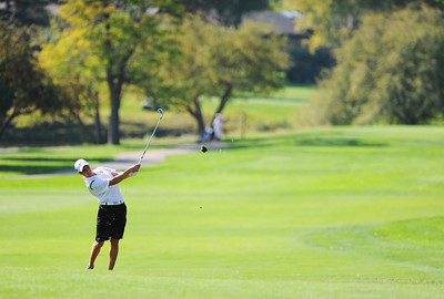 Alexander Dawson's Cam Connor sends his ball up the 7th hole fairway during the 2012 CHSAA 3A State Championship held at Denver's Pinehurst Country Club on Monday, October 1, 2012. (Kira Horvath/Daily Camera)