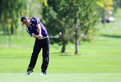 Holy Family High School's Conor Stanley sends the ball up the 10th hole fairway during the 2012 CHSAA 3A State Championship held at Denver's Pinehurst Country Club on Monday, October 1, 2012. (Kira Horvath/Daily Camera)