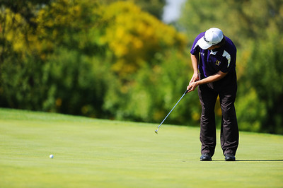 Holy Family High School's Tyler Lucero putts on the 10th hole green during the 2012 CHSAA 3A State Championship held at Denver's Pinehurst Country Club on Monday, October 1, 2012. (Kira Horvath/Daily Camera)