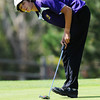 Holy Family High School's Blake Bollman reacts after just missing his putt at the 10th hole during the 2012 CHSAA 3A State Championship held at Denver's Pinehurst Country Club on Monday, October 1, 2012. (Kira Horvath/Daily Camera)