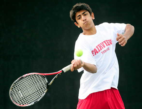Fairview's Kamran Shabaz returns the ball to Grand Junction's Matthew Ness and Charlie Ruckman during their 5A 2012 Boys' State Tennis Semifinal match in Denver, Colorado October 12, 2012. BOULDER DAILY CAMERA/ Mark Leffingwell