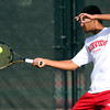 Fairview's Ignatius Castelino returns the ball back to Arapahoe's Nick Farman during their 5A 2012 Boys' State Tennis Semifinal match in Denver, Colorado October 12, 2012. BOULDER DAILY CAMERA/ Mark Leffingwell