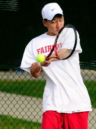 Fairview's Kevin Chen returns the ball to Legacy's David Rosencrans and Mike Rosencrans during their 5A 2012 Boys' State Tennis Semifinal match in Denver, Colorado October 12, 2012. BOULDER DAILY CAMERA/ Mark Leffingwell