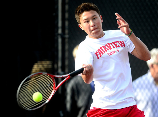 Fairview's Alec Leddon returns the ball back to Mountain Vista's Thomas Van De Pas during their 5A 2012 Boys' State Tennis Semifinal match in Denver, Colorado October 12, 2012. BOULDER DAILY CAMERA/ Mark Leffingwell