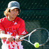 Loveland's Joey Daiz returns the ball to Highlands Ranch's Hayden Sabatka during their 5A 2012 Boys' State Tennis Semifinal match in Denver, Colorado October 12, 2012. BOULDER DAILY CAMERA/ Mark Leffingwell