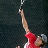 Loveland's Joey Daiz serves the ball to Highlands Ranch's Hayden Sabatka during their 5A 2012 Boys' State Tennis Semifinal match in Denver, Colorado October 12, 2012. BOULDER DAILY CAMERA/ Mark Leffingwell