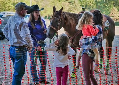U.S. Flag Bearer Amber Greene & Horse making friends before the event.