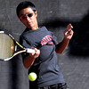 Fairview's Igantius Castelino returns the ball back to Lakewood's Bryan Yoshida during the first round of the 2011 Boys' State Tennis in Denver, Colorado October 13, 2011.  CAMERA/Mark Leffingwell