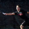 Fairview's Eli Winegardner stretches to reach the ball while playing Ponderosa's Hunter LaCouture in the first round of the 2011 Boys' State Tennis in Denver, Colorado October 13, 2011.  CAMERA/Mark Leffingwell