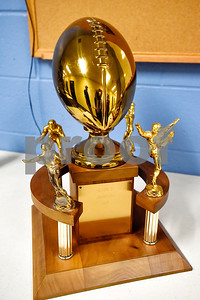 The 1967 regional championship trophy during a high school football game at Hawkins High School in Hawkins, Texas, on Friday, Oct. 13, 2017. The 1967 regional championship football team reunited for Hawkins' homecoming game. (Chelsea Purgahn/Tyler Morning Telegraph)