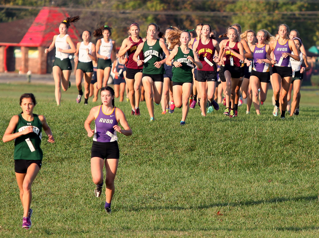 . Westlake\'s Erica Francesconi and Avon\'s Jules Frombach lead the packat the first hill during the Southwestern Conference cross country championship. Randy Meyers -- The Morning Journal