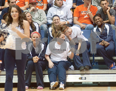 photo by Sarah A. Miller/Tyler Morning Telegraph  University of Texas at Tyler students watch the dance competition during Patriot Madness, a meet the UT Tyler basketball teams event at the Herrington Patriot Center Wednesday night.