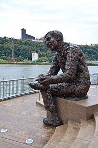 The Mr. Rogers Memorial and the Duquesne Incline.