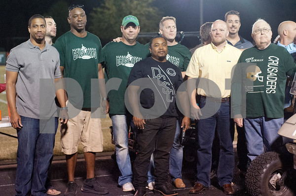 The 1995 Bishop Thomas K. Gorman state football championship team is honored at Friday's homecoming game at McCallum Stadium in Tyler.  (Sarah A. Miller/Tyler Morning Telegraph)