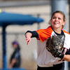 Erie's Kaitlyn Glaze makes the throw to first for the out against Mountain View during their 2012 State Softball game in Aurora, Colorado October 19, 2012. BOULDER DAILY CAMERA/ Mark Leffingwell