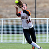 Erie's Kenzie Kudrna catches a fly ball from Mountain View during their 2012 State Softball game in Aurora, Colorado October 19, 2012. BOULDER DAILY CAMERA/ Mark Leffingwell
