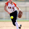Erie's Carrie Clark pitches against Mountain View during their 2012 State Softball game in Aurora, Colorado October 19, 2012. BOULDER DAILY CAMERA/ Mark Leffingwell