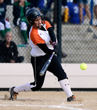 Erie's Tiffany Maul hits against Ponderosa during their 2012 State Softball game in Aurora, Colorado October 19, 2012. BOULDER DAILY CAMERA/ Mark Leffingwell
