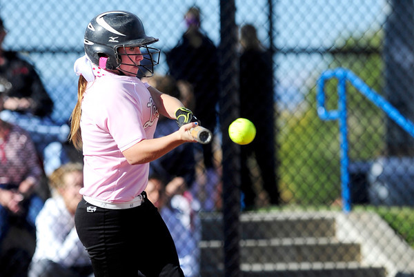 Loveland's Colissa Bokovich hits the ball against Cherokee Trail during their 2012 State Softball game in Aurora, Colorado October 19, 2012. BOULDER DAILY CAMERA/ Mark Leffingwell