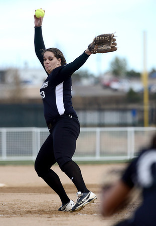 Niwot pitcher Nikkie Blue winds up to pitch against Palmer Ridge during their 2012 State Softball game in Aurora, Colorado October 19, 2012. BOULDER DAILY CAMERA/ Mark Leffingwell