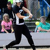 Niwot's Katrina Hunt hits the ball against Palmer Ridge during their 2012 State Softball game in Aurora, Colorado October 19, 2012. BOULDER DAILY CAMERA/ Mark Leffingwell