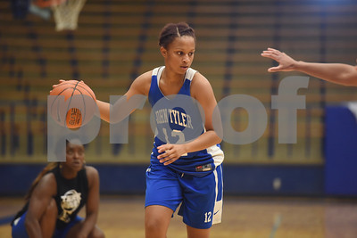 Zakiyah Jones dribbles during practice Wednesday Oct. 19, 2016.  The Lady Lions return four starters from last year's district championship team.   (Sarah A. Miller/Tyler Morning Telegraph)