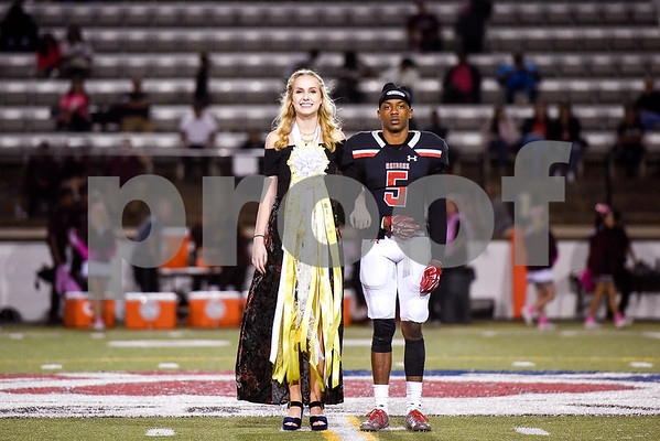 Allie Wallace and Matt Taylor of the Robert E. Lee homecoming court during a high school football game at Christus Trinity Mother Frances Rose Stadium at Tyler, Texas, on Friday, Oct. 20, 2017. (Chelsea Purgahn/Tyler Morning Telegraph)