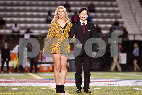 Bailey George and Chris Kang of the Robert E. Lee homecoming court during a high school football game at Christus Trinity Mother Frances Rose Stadium at Tyler, Texas, on Friday, Oct. 20, 2017. (Chelsea Purgahn/Tyler Morning Telegraph)