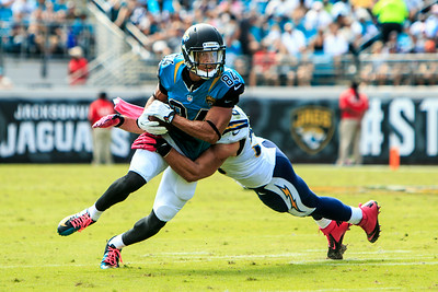 October 20, 2013: Cecil Shorts catches a passduring the Jaguars vs. Chargers game at Everbank Field. -James Vernacotola