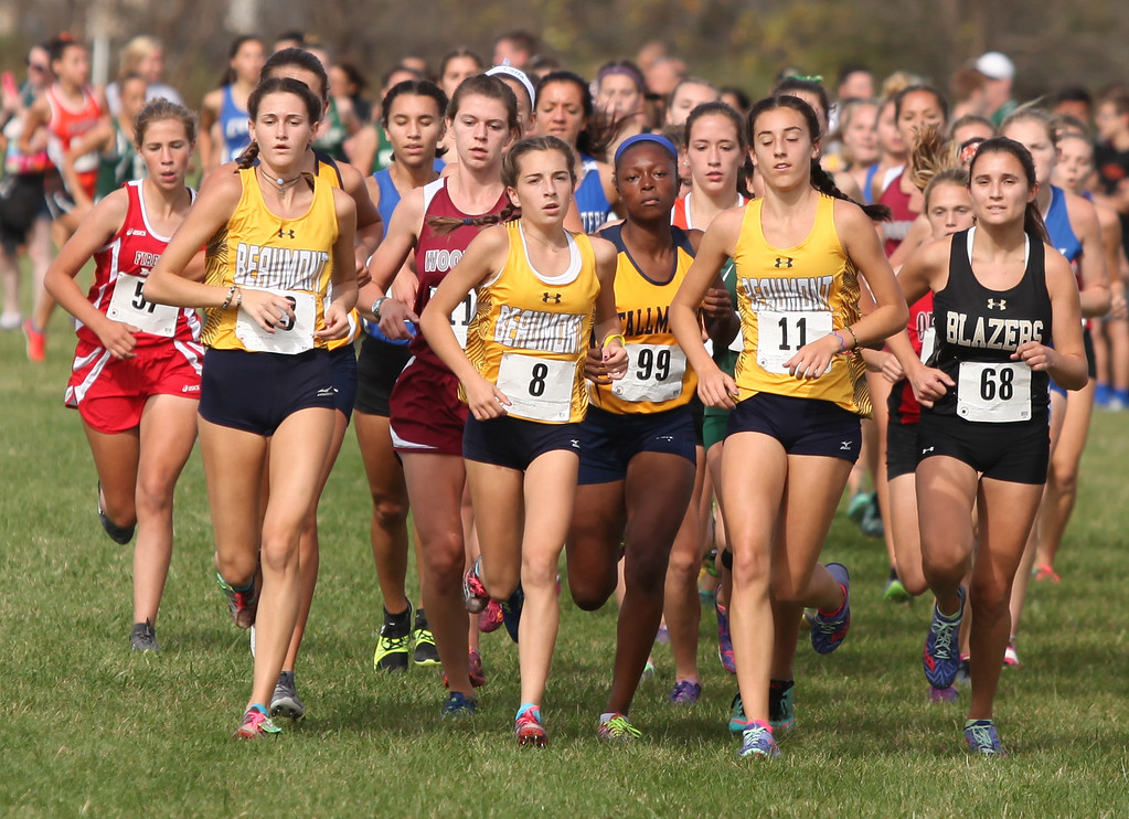 . Runners make the third turn during the Division II race. Randy Meyers -- The Morning Journal