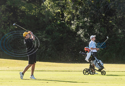 Tyler Junior College's Parker McCurdy watches his shot on No. 8 during their golf tournament at Pine Springs Golf Club on Monday Oct. 21, 2019.  (Sarah A. Miller/Tyler Morning Telegraph)