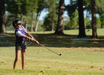 Jacksonville College's Vanessa Agis hits the ball on No. 5 during a golf tournament at Pine Springs Golf Club on Monday Oct. 21, 2019.  (Sarah A. Miller/Tyler Morning Telegraph)