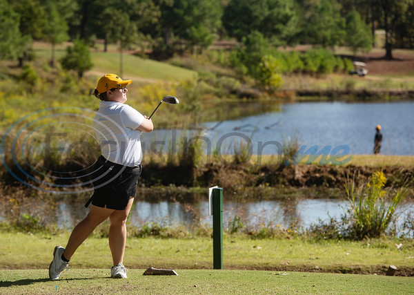 Tyler Junior College's Caitlyn Niemietz tees during their golf tournament at Pine Springs Golf Club on Monday Oct. 21, 2019.  (Sarah A. Miller/Tyler Morning Telegraph)