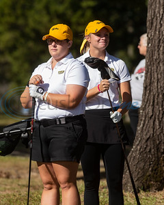 Tyler Junior College's Cece Niemietz and Madison Brown wait for their turn to tee on No. 4 during their golf tournament at Pine Springs Golf Club on Monday Oct. 21, 2019.  (Sarah A. Miller/Tyler Morning Telegraph)