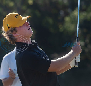 Tyler Junior College's Brayden Cheatham watches his shot on No. 9 during their golf tournament at Pine Springs Golf Club on Monday Oct. 21, 2019.  (Sarah A. Miller/Tyler Morning Telegraph)