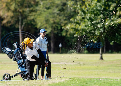 Tyler Junior College's Odette Booysen hits her ball out of a sand trap during their golf tournament at Pine Springs Golf Club on Monday Oct. 21, 2019.  (Sarah A. Miller/Tyler Morning Telegraph)