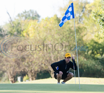 Tyler Junior College's Cade Basson lines up his putt during their golf tournament at Pine Springs Golf Club on Monday Oct. 21, 2019.  (Sarah A. Miller/Tyler Morning Telegraph)