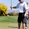 Matt Ayers of Longmont High School reacts after missing a putt during the second round of the Colorado High School Activities Association's 4A State Golf Championship at The Links at Cobble Creek in Montrose, Colo., Tuesday, Oct. 2, 2012.<br /> <br /> Photo by Barton Glasser