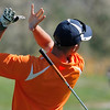 Dalton Anderson of Erie High School drops his club during the second round of the Colorado High School Activities Association's 4A State Golf Championship at The Links at Cobble Creek in Montrose, Colo., Tuesday, Oct. 2, 2012.<br /> <br /> Photo by Barton Glasser