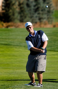 Seth Dykema of Longmont High School hits from the fairway during the second round of the Colorado High School Activities Association's 4A State Golf Championship at The Links at Cobble Creek in Montrose, Colo., Tuesday, Oct. 2, 2012.  Photo by Barton Glasser