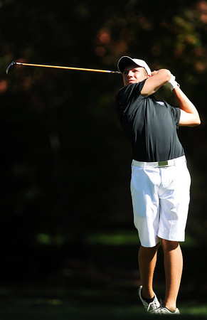 Alexander Dawson's Cam Connor tees off on the 6th hole during the 2012 CHSAA 3A State Championship held at Denver's Pinehurst Country Club on Tuesday, October 2, 2012. (Kira Horvath/Daily Camera)