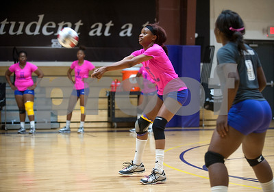 Texas College's Karah Phipps (5) bumps the ball as they play Jarvis Christian College during their Red River Conference volleyball game Thursday night at Texas College's Gus F. Taylor Gymnasium. In five games Texas College won 26-24,19-25, 25-21, 19-25, and 15-7.   (Sarah A. Miller/Tyler Morning Telegraph)