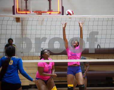 Texas College's Sarah Francis sets the ball as they play Jarvis Christian College during their Red River Conference volleyball game Thursday night at Texas College's Gus F. Taylor Gymnasium. In five games Texas College won 26-24,19-25, 25-21, 19-25, and 15-7.   (Sarah A. Miller/Tyler Morning Telegraph)