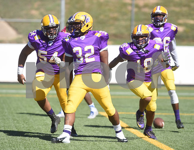 Texas College's (32) Carlos Mosby reacts after scoring a touchdown in the first half of their homecoming football game against Wayland Baptist University held Saturday at Christus Trinity Frances Rose Stadium.   (Sarah A. Miller/Tyler Morning Telegraph)
