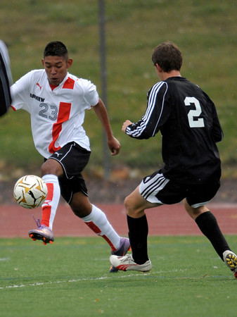 Fairview's Raul Magno (left) takes the ball from Eaglecrest's Creede Wheeler (right) during their soccer game at Fairview High School in Boulder, Colorado October 25, 2011.  CAMERA/Mark Leffingwell